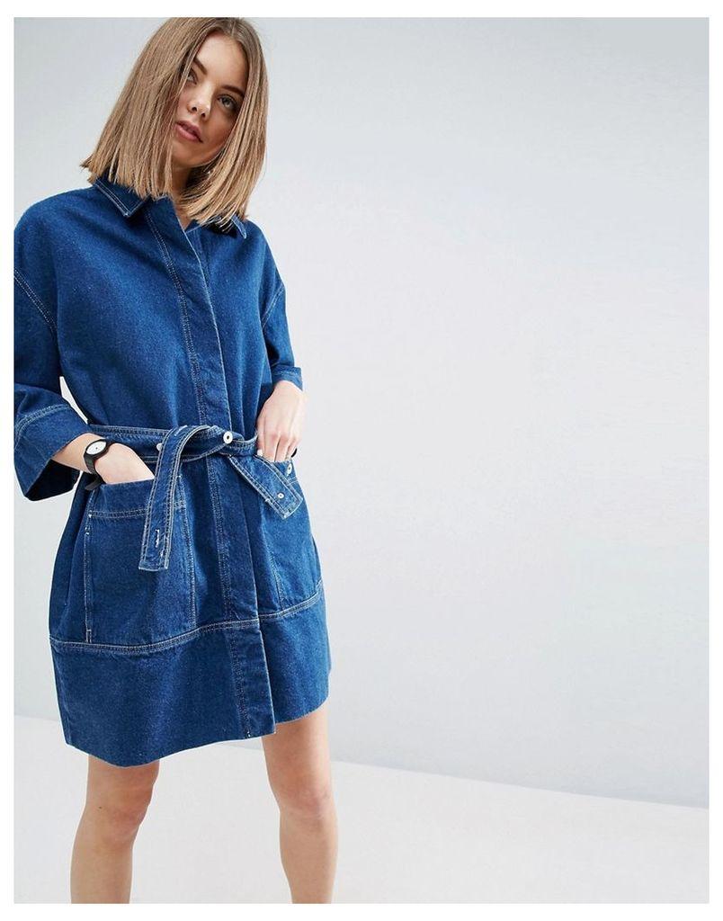 ASOS WHITE Denim Belted Shirt Dress In Darkwash Blue - Blue