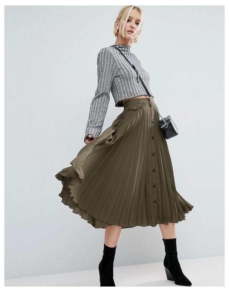 ASOS Button Through Pleated Midi Skirt - Khaki