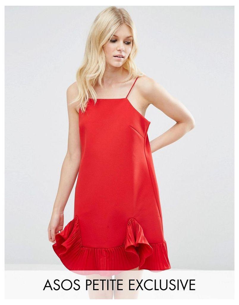 ASOS PETITE Cami Mini Dress with Ruffle Hem - Red