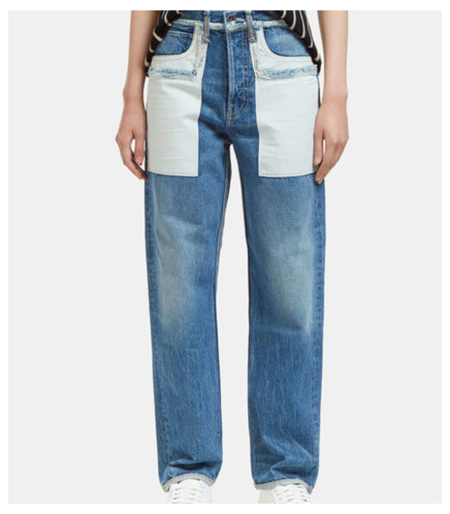Reverse Patch Pocket Straight Leg Boyfriend Jeans