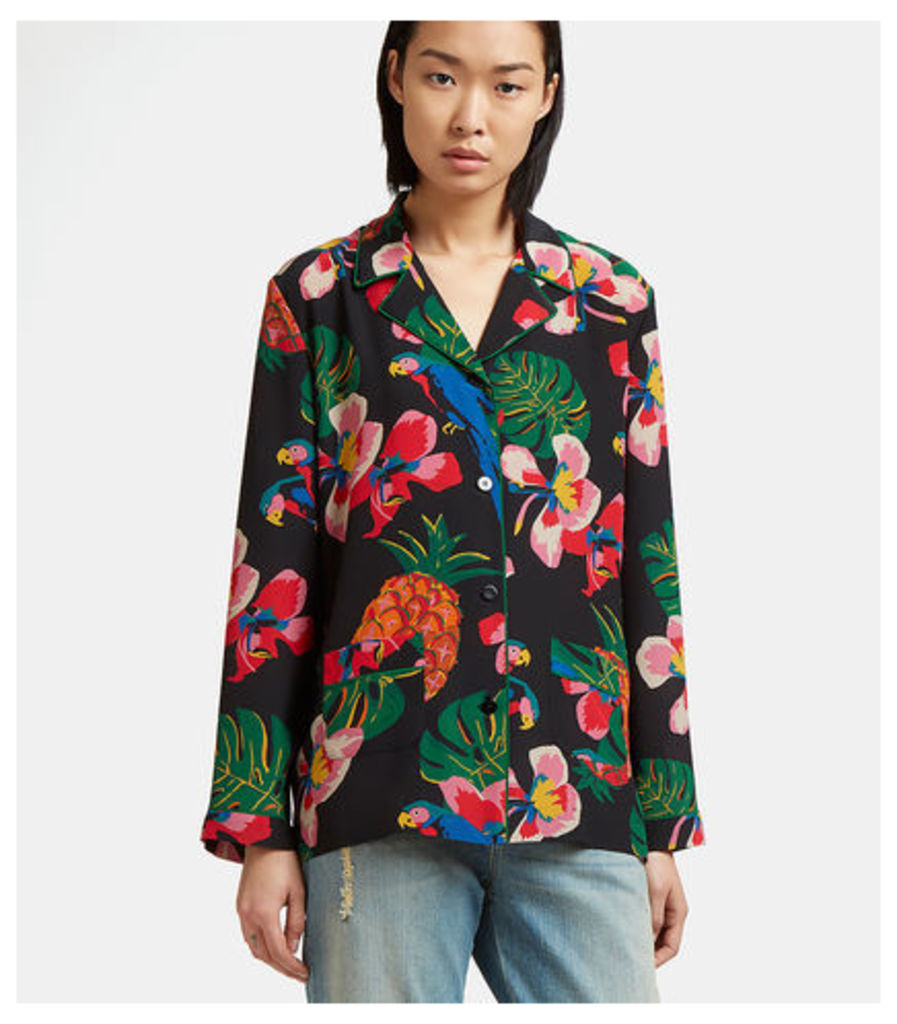 Tropical Print Silk Pyjama Shirt