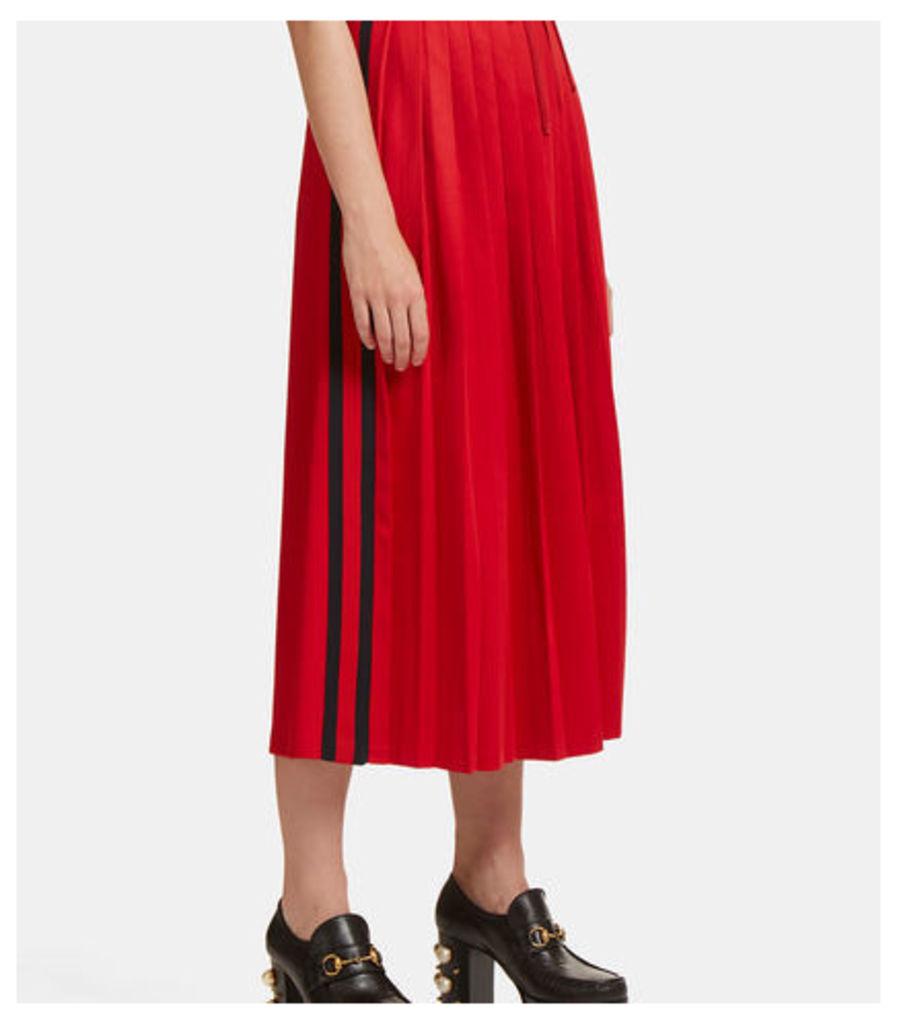 Pleated Striped Web Jersey Skirt