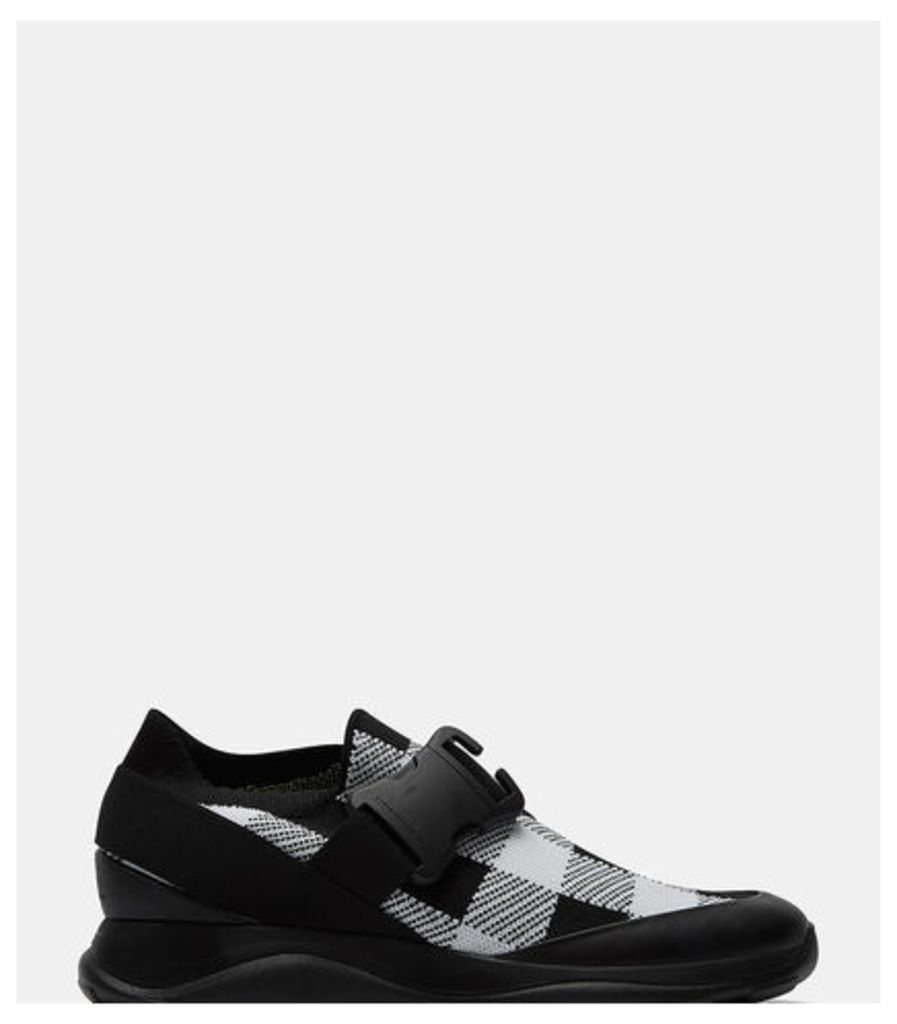 Gingham Knit Low-Top Sneakers