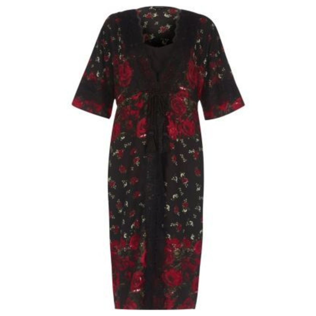 River Island Womens Black floral rose print layered kimono dress