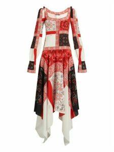 Alexander Mcqueen - Scoop Neck Cross Stitch Print Crepe De Chine Dress - Womens - Ivory Multi