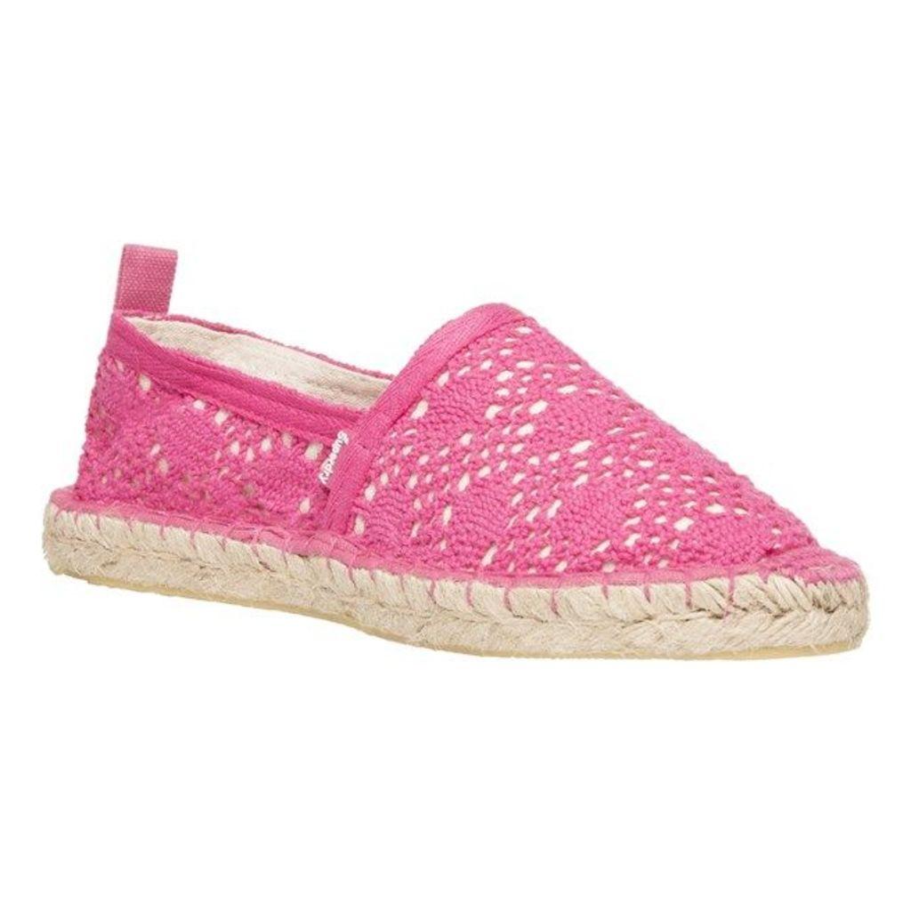 Superdry Espadrille Shoes, Fluro Pink Crochet