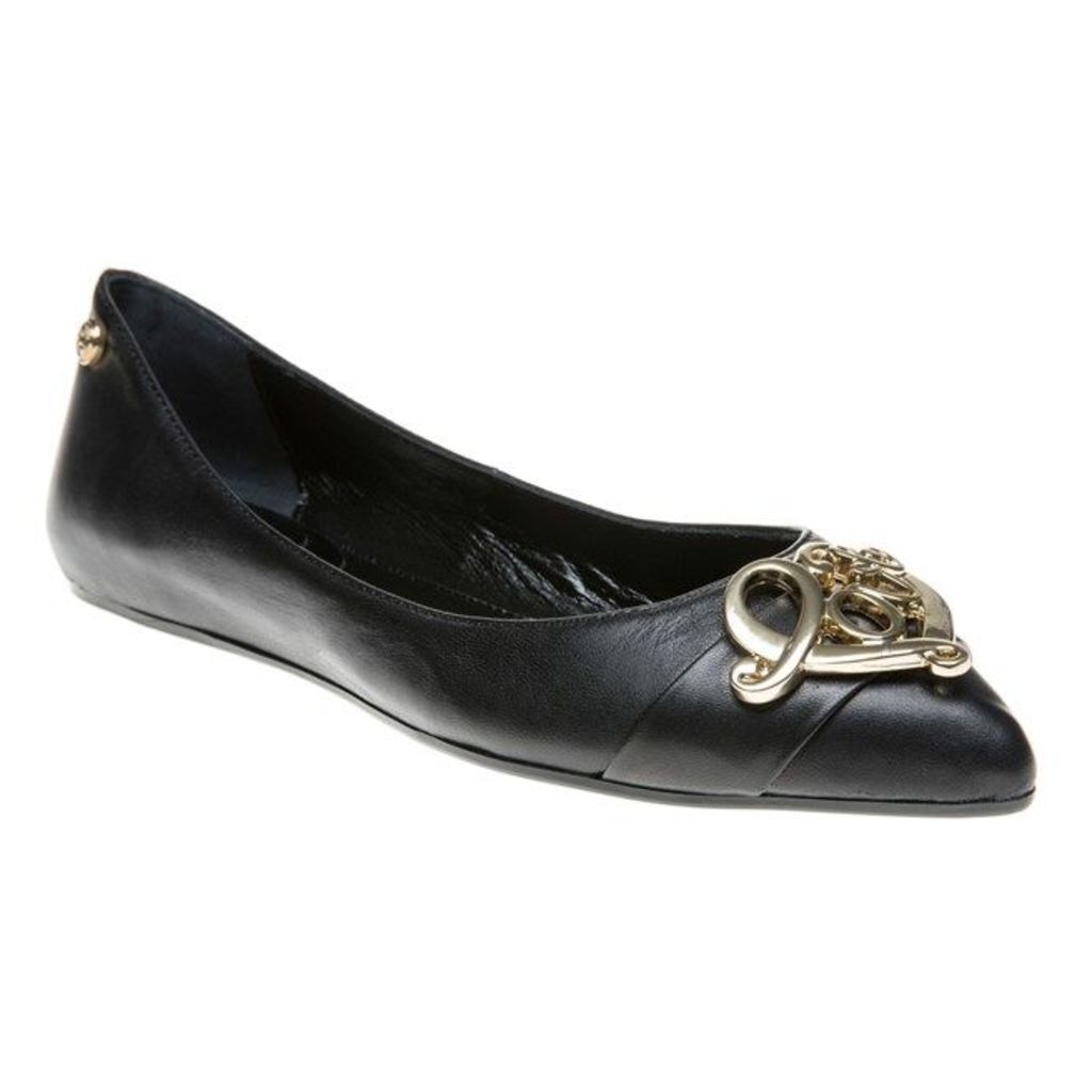 Love Moschino Pointed Ballet Shoes, Black