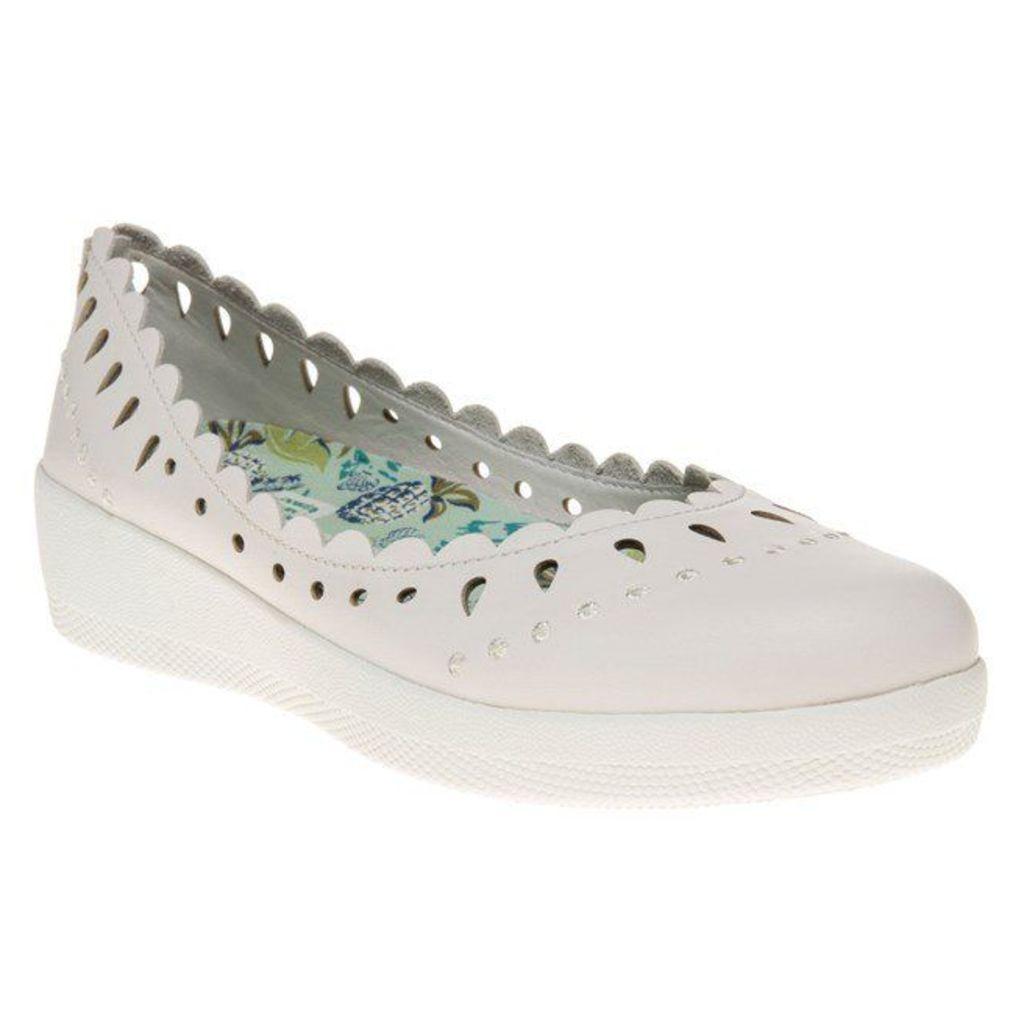 FitFlop Anna Sui Latticed Ballerina Shoes, White