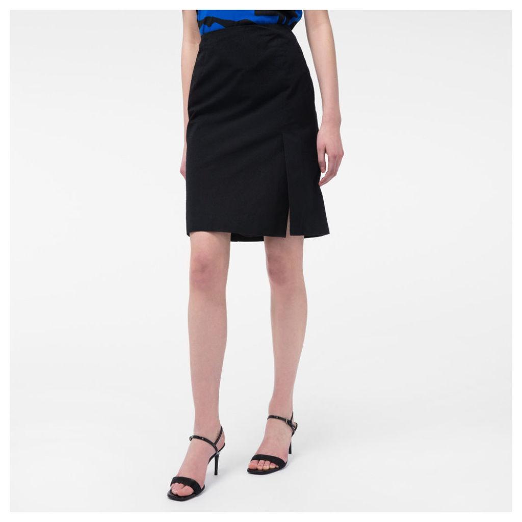 Women's Black Textured Cotton-Blend Skirt