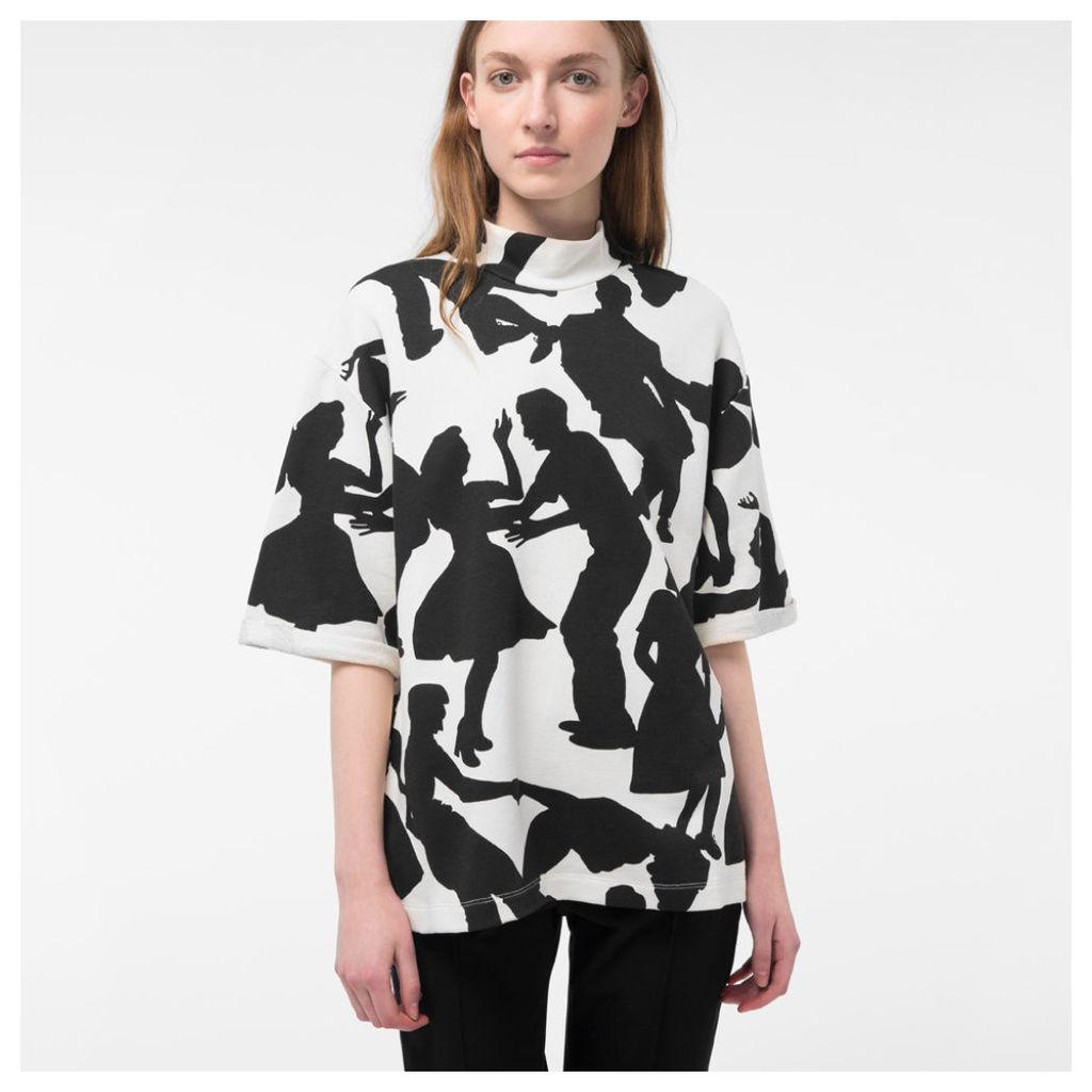 Women's Cream 'Dancers' Print Short-Sleeve Sweatshirt