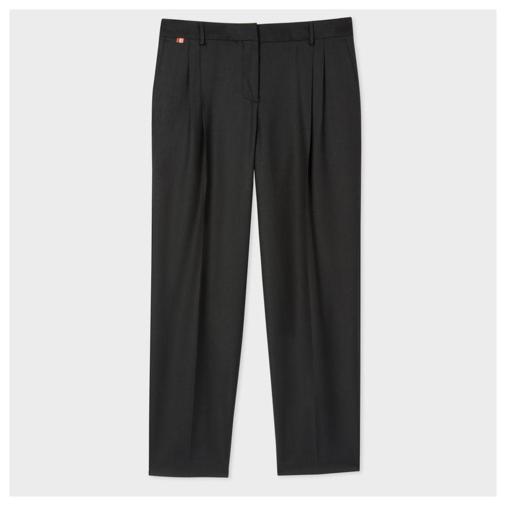 Women's Black Wool Double-Pleat Trousers