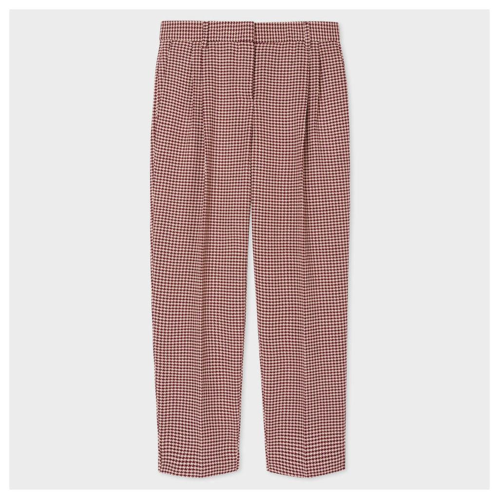 Women's Damson Puppytooth Wool Double-Pleat Trousers
