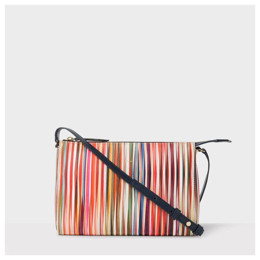 Women's 'Crossover Stripe' Print Calf Leather Pochette