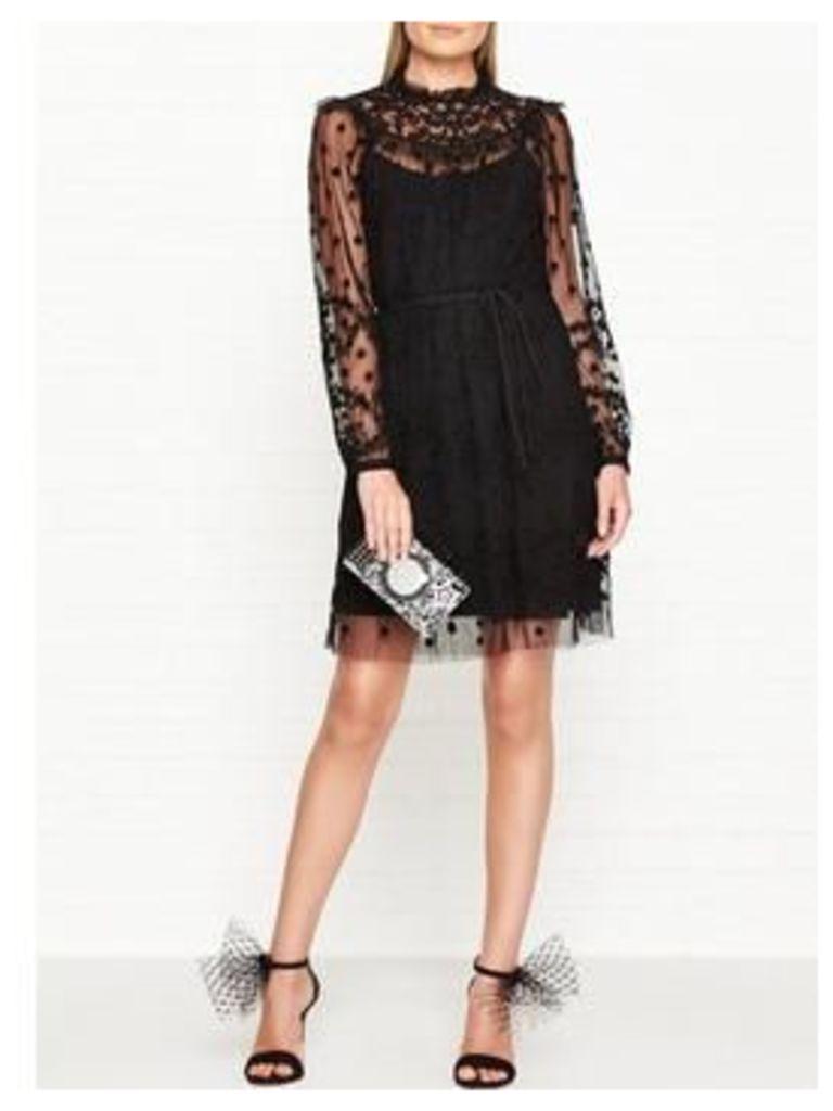 Needle & Thread Shadow Embellished Dress - Black