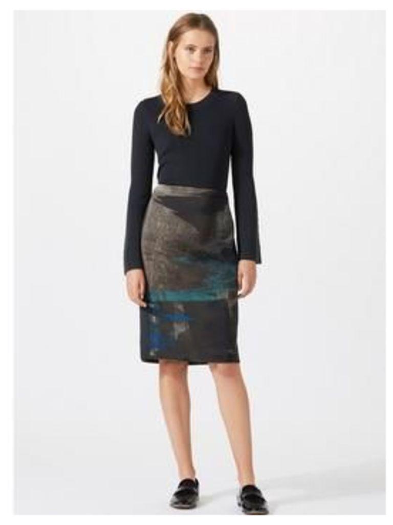 Jigsaw Ocean Tide Jacquard Pencil Skirt - Navy