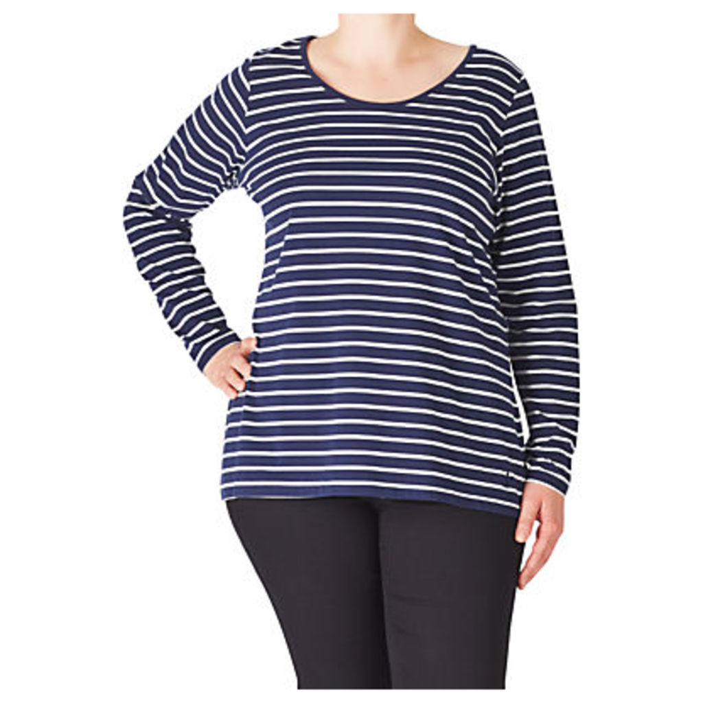 ADIA Striped Cotton Jersey Top, Blue/White