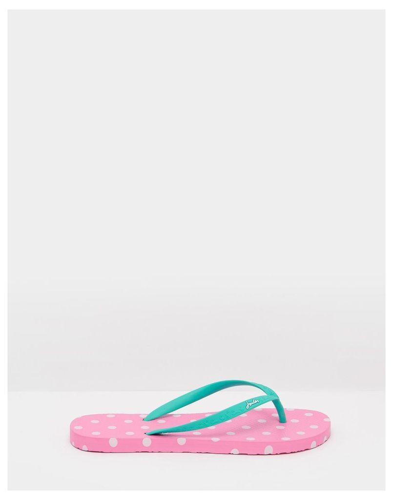Pink Spot Sandy Printed Flip Flops  Size Adult 6   Joules UK
