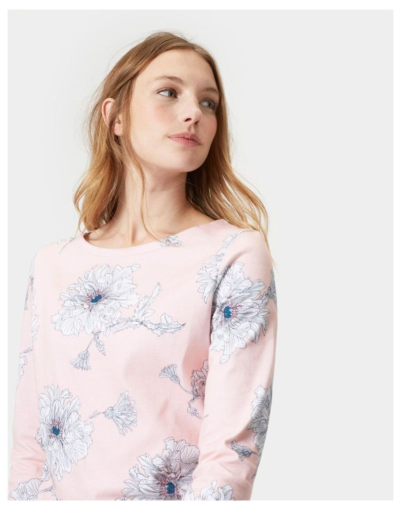 Soft Pink Peony Harbour print Jersey Top  Size 8   Joules UK