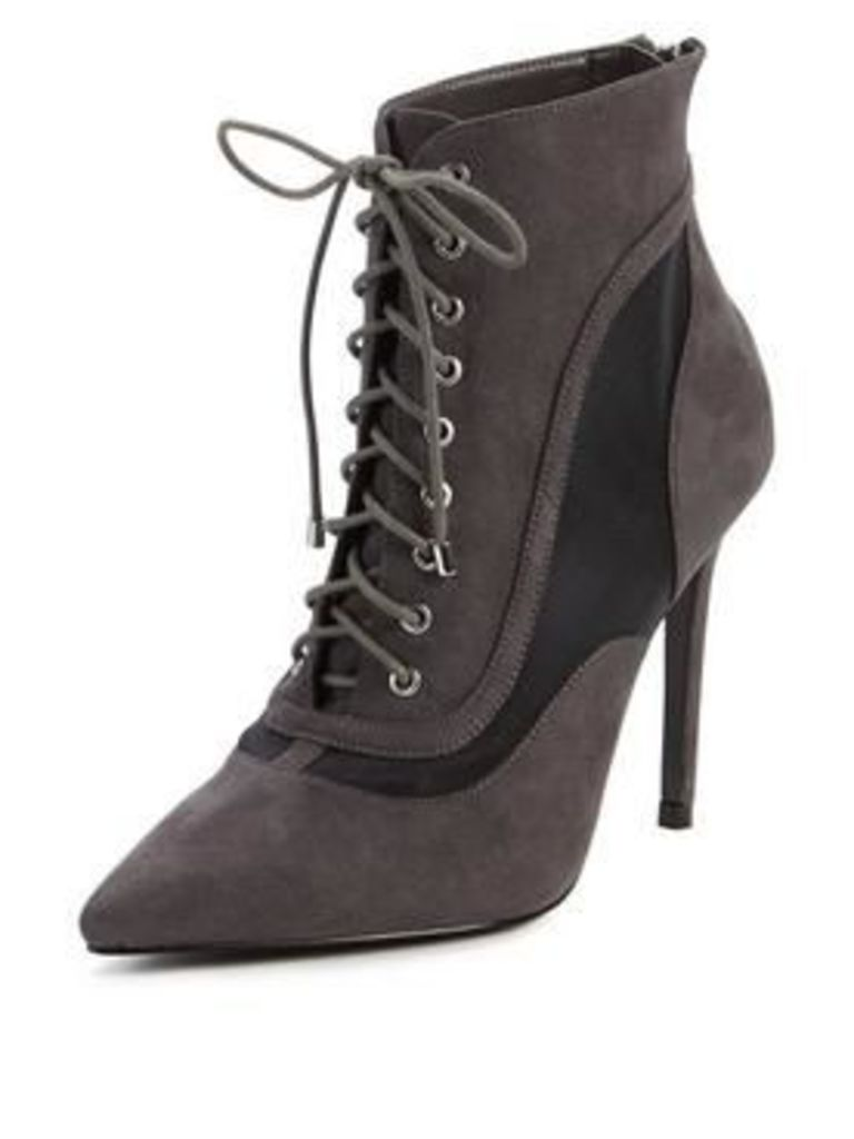 V by Very Triss Lace Up Pointed Ankle Boot, Grey, Size 6, Women
