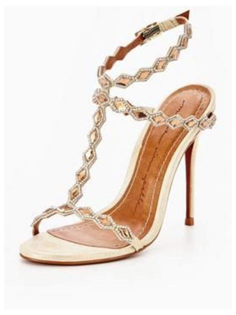 Moda In Pelle Moda in Pelle Santona Diamond trim barely there sandal, Champagne, Size 5, Women