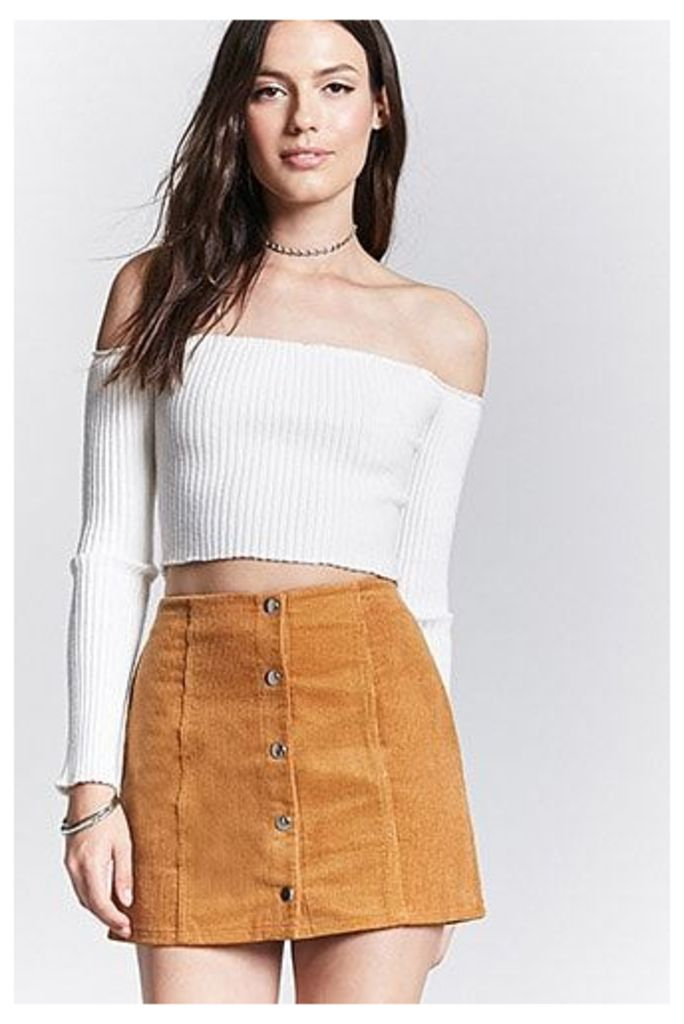 Corduroy Button-Front Skirt