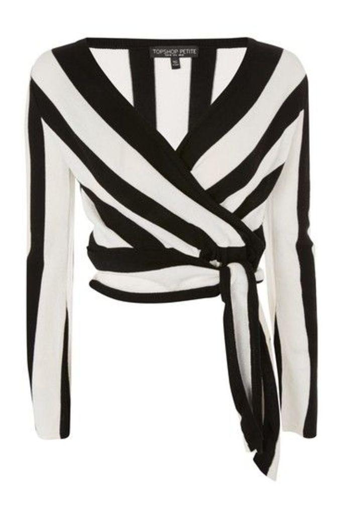 Womens PETITE Stripe Wrap Top - Monochrome, Monochrome