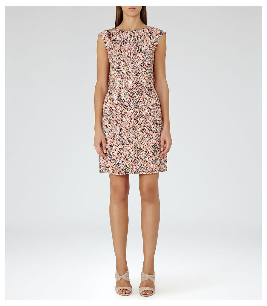 REISS Ashe - Printed Dress in Pink, Womens