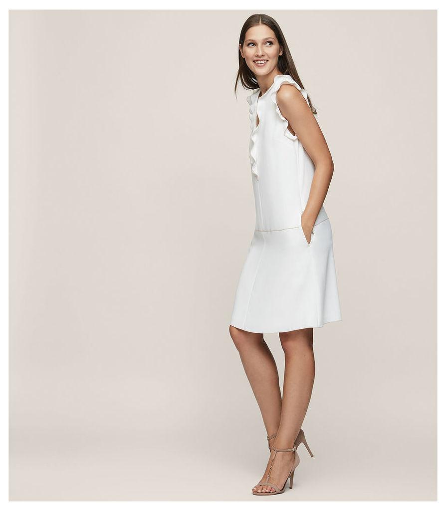 REISS Vivienne - Frill-detail Shift Dress in Cream, Womens
