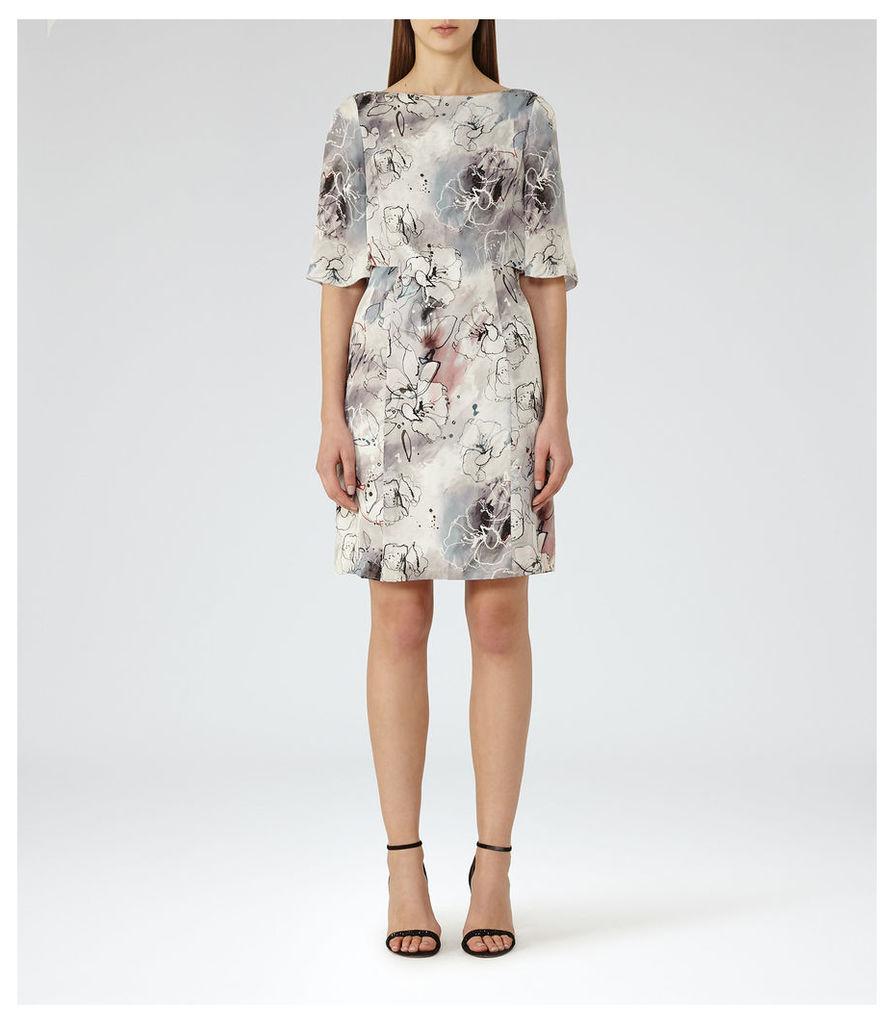 REISS Oriana - Printed Dress in Grey, Womens