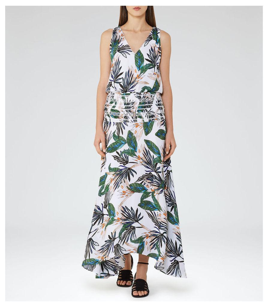 REISS Maribel - Palm-print Maxi Dress in White, Womens
