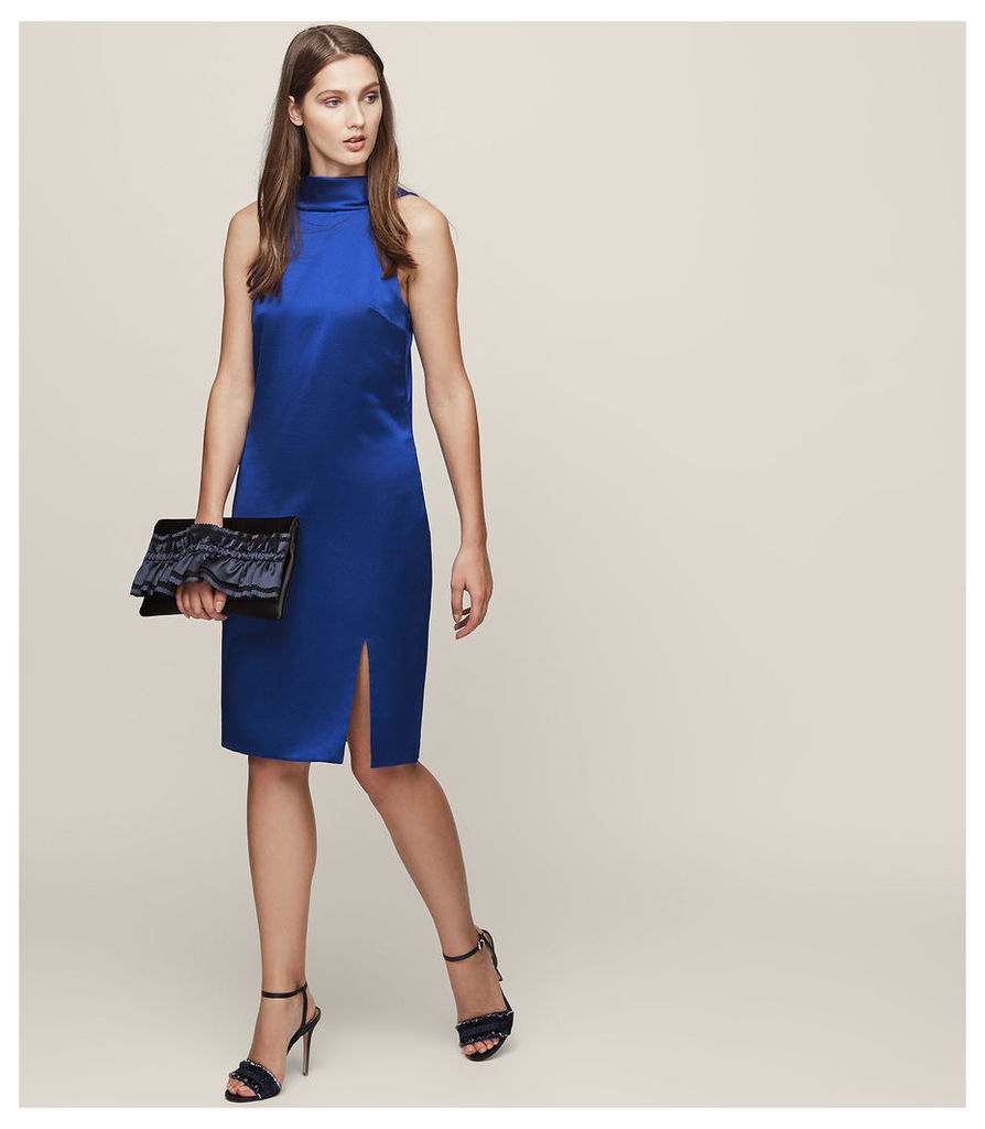 REISS Mina - Cowl-back Shift Dress in Blue, Womens