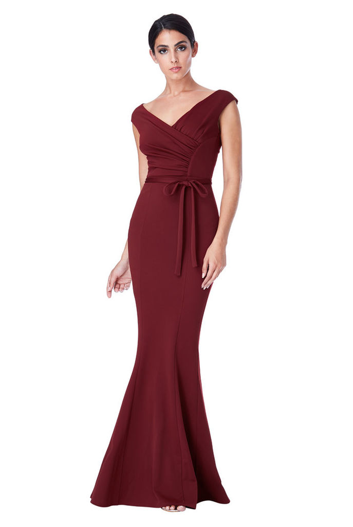 Pleated Maxi Dress with Tie Detail - Wine