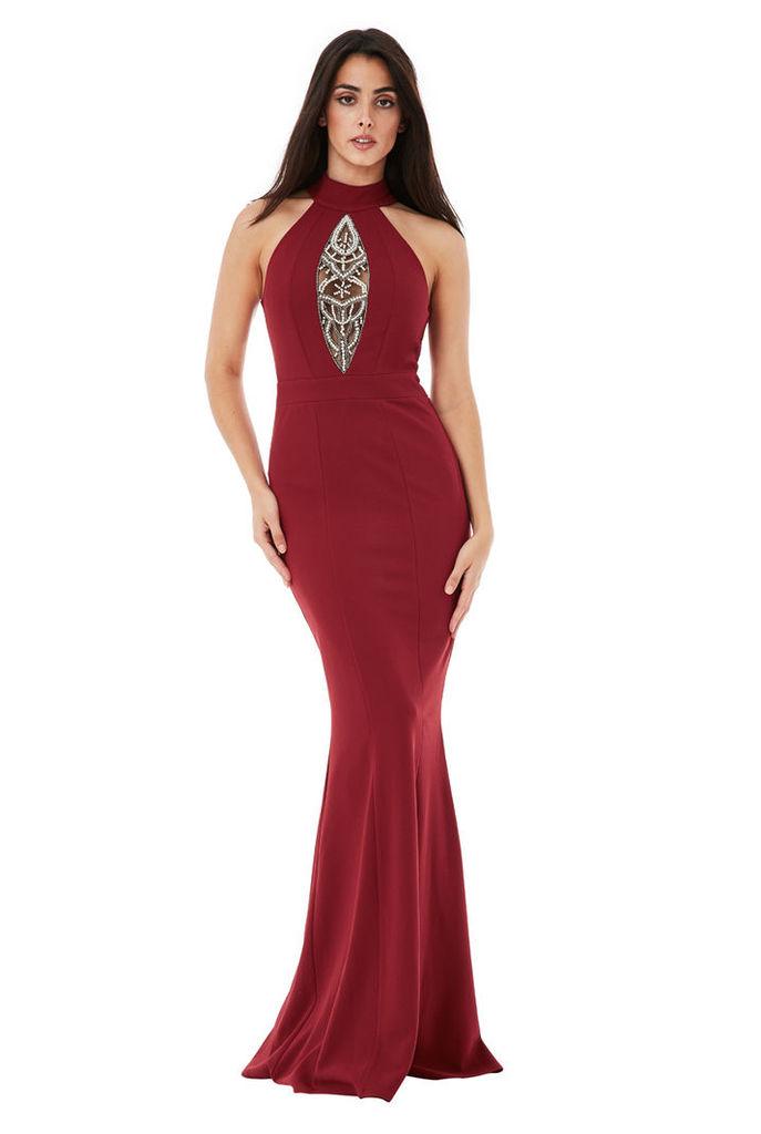 Embellished Maxi Dress - Wine