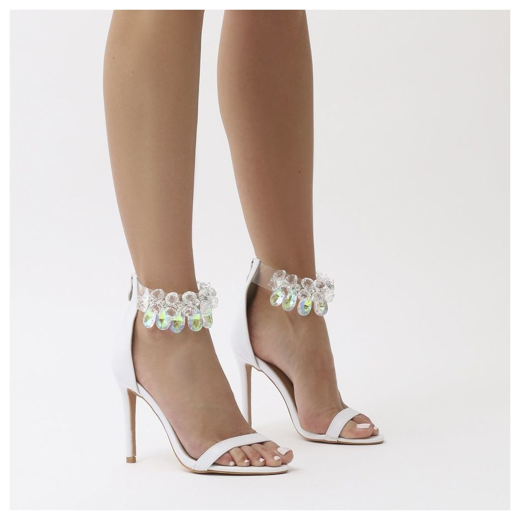 Galaxy Embellished Barely There Stiletto Heels, White