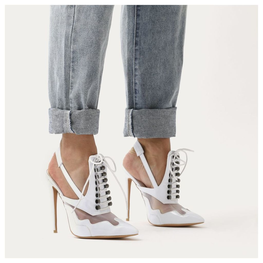 Italia Slingback Lace Up Mule  Mesh and Patent, White