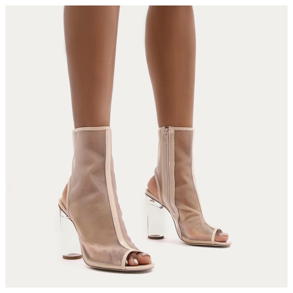 Alisa Peeptoe Perspex Heeled Boots  Mesh, Nude