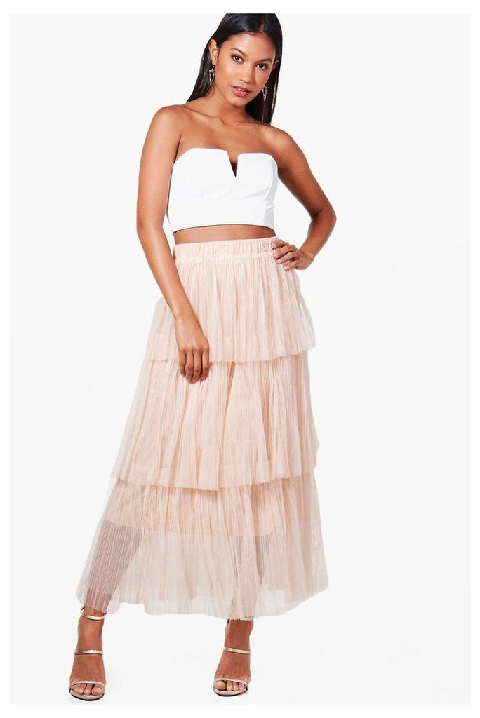 Pleated Tulle Layered Midaxi Skirt - nude