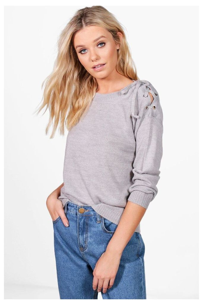 Lace Up Shoulder Jumper - grey