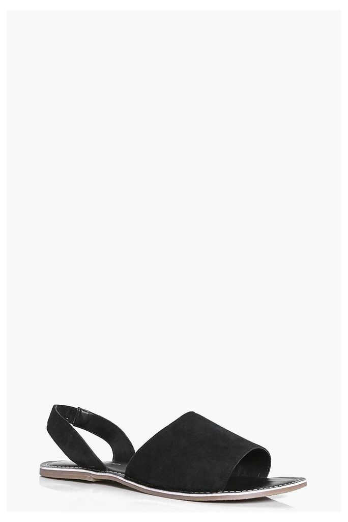 Suede Two Part Peeptoe Sandal - black