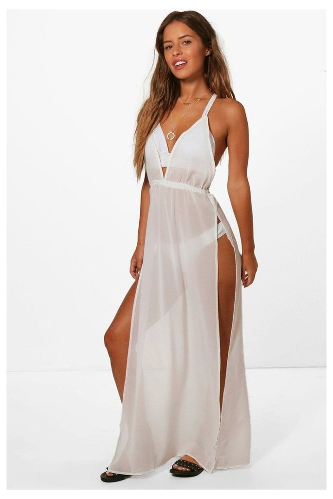 Amelia Split Leg Beach Maxi Dress - white