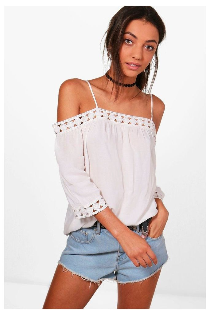 Hannah Crochet Trim Cold Shoulder Top - cream
