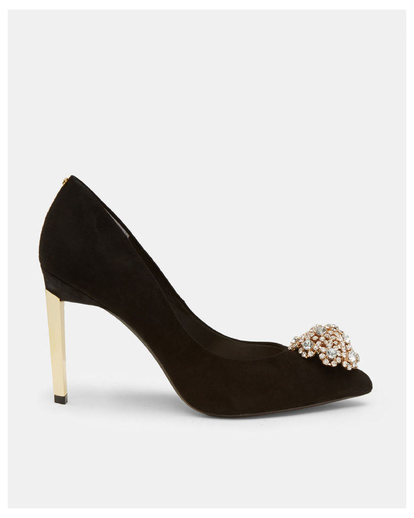 Ted Baker Suede brooch detail court shoes Black
