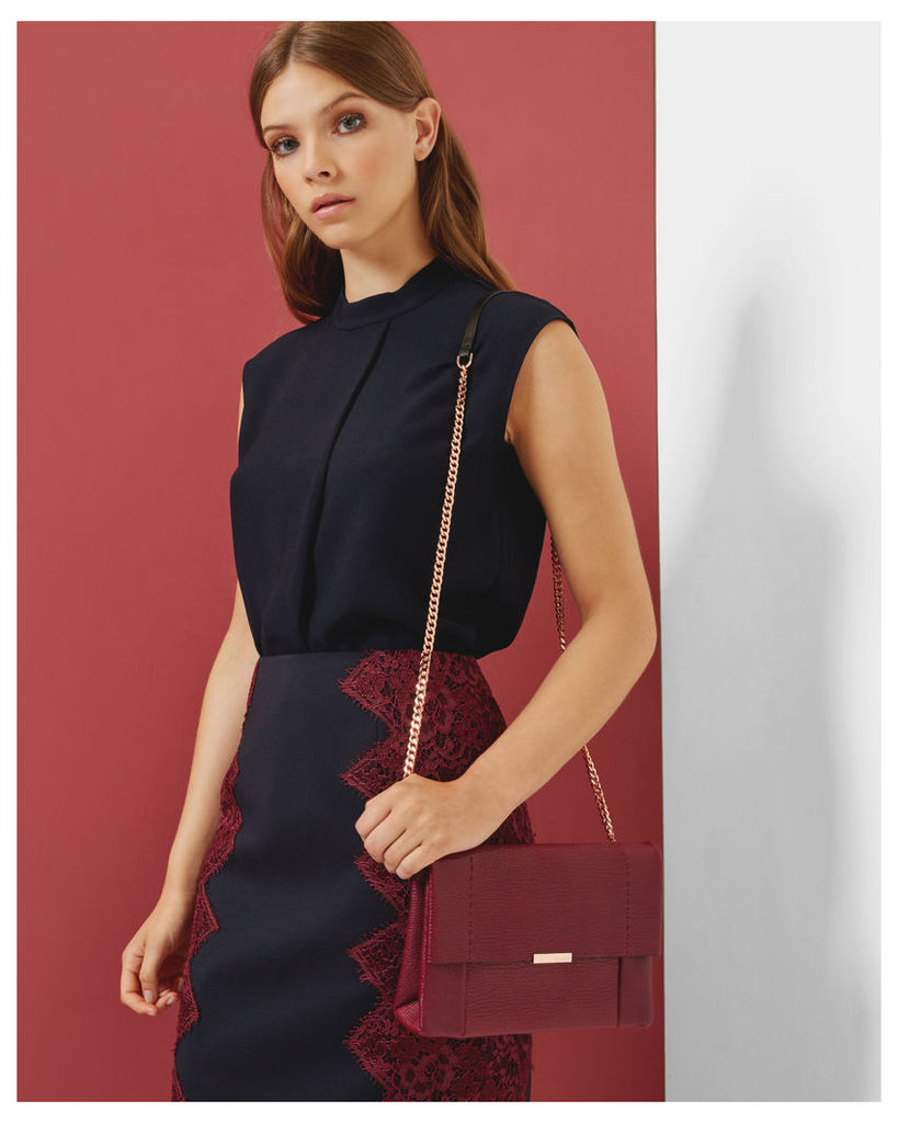Ted Baker Dropped hem pleated top Navy