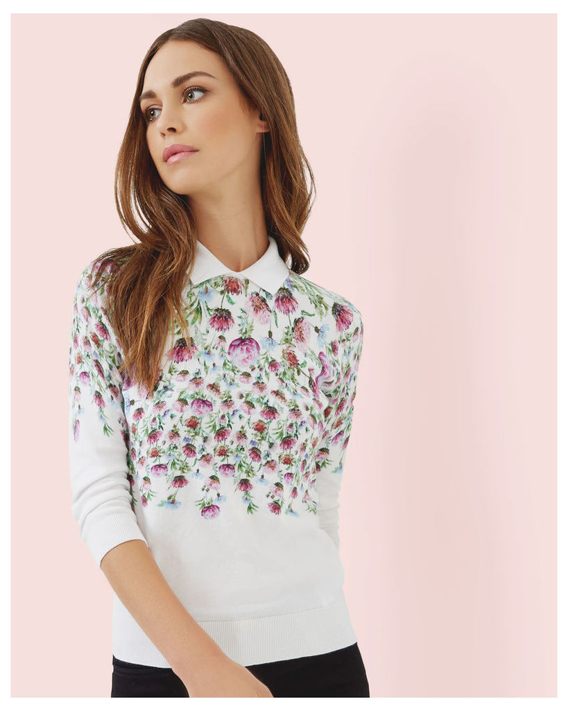 Ted Baker Thistle print collared jumper Cream