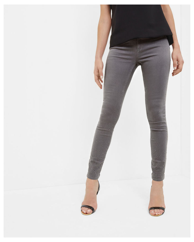 Ted Baker Embellished straight fit jeans Grey Marl