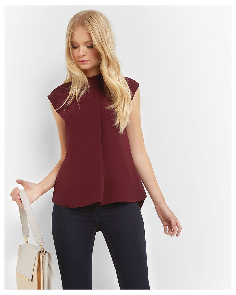 Ted Baker Dropped hem pleated top Oxblood