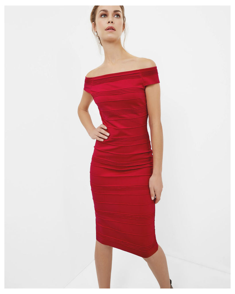 Ted Baker Textured Bardot midi dress Bright Red