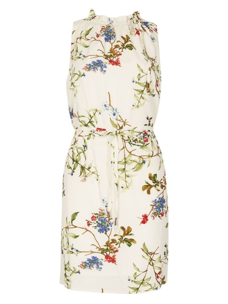 Izabel London Ruffle Neck Detail Floral Mini Dress, Multi-Coloured