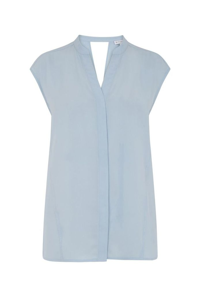 Warehouse Open Back Sleeveless Blouse, Light Blue
