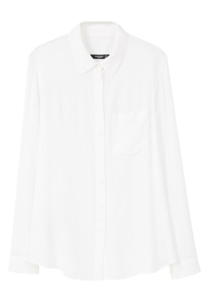 Mango Pocket Flowy Shirt, White